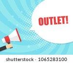 male hand holding megaphone... | Shutterstock .eps vector #1065283100