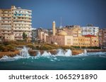 the mosque on the seashore in... | Shutterstock . vector #1065291890