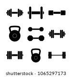 vector set of black weight... | Shutterstock .eps vector #1065297173