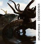 giant fish vs legend octopus 3d ...   Shutterstock . vector #1065306464
