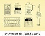 outlines of calculators  watch  ...