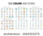 120 color line icons ... | Shutterstock .eps vector #1065323273