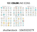 100 color line icons ... | Shutterstock .eps vector #1065323279