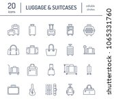 luggage flat line icons. carry... | Shutterstock .eps vector #1065331760