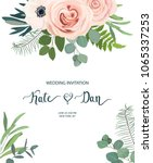 floral frame with anemone  rose ... | Shutterstock .eps vector #1065337253