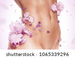 sporty torso of woman in pink... | Shutterstock . vector #1065339296