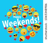 happy weekends  label or sign...   Shutterstock .eps vector #1065348986
