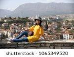 Girl tourist at the Hidirlik Hill of famous Safranbolu town, Turkey