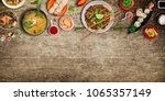 various of asian meals on... | Shutterstock . vector #1065357149