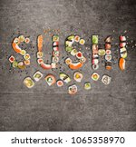 traditional japanese sushi... | Shutterstock . vector #1065358970