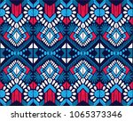 ikat geometric folklore... | Shutterstock .eps vector #1065373346