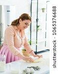 beautiful woman rolling dough... | Shutterstock . vector #1065376688