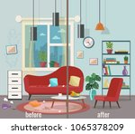 living room before and after... | Shutterstock .eps vector #1065378209