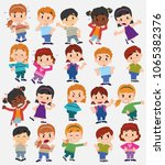 cartoon character boys and... | Shutterstock .eps vector #1065382376