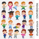 cartoon character boys and... | Shutterstock .eps vector #1065382436