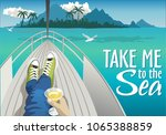 summer holidays. travel by sea... | Shutterstock .eps vector #1065388859