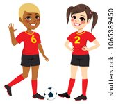 two beautiful diverse soccer... | Shutterstock .eps vector #1065389450