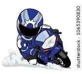 motorcycle rider lead in curve | Shutterstock .eps vector #1065390830