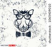 vector warthog head  hipster... | Shutterstock .eps vector #1065409010