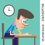 stressed student studying hard...   Shutterstock .eps vector #1065409748