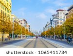people are strolling through... | Shutterstock . vector #1065411734