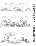 set of hand drawn sketch doodle ... | Shutterstock .eps vector #1065412619