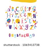colorful modern alphabet and...   Shutterstock .eps vector #1065413738