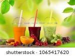 fresh juice mix fruit  healthy... | Shutterstock . vector #1065417620
