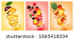 set of fruit in juice splashes. ... | Shutterstock .eps vector #1065418334