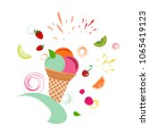 fruit and ice cream cocktail | Shutterstock .eps vector #1065419123