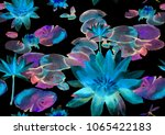 seamless pattern with lily pond ... | Shutterstock . vector #1065422183