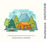 camp in forest with mountains.... | Shutterstock .eps vector #1065425438