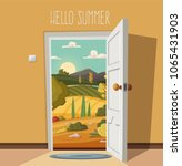 open door. valley landscape.... | Shutterstock .eps vector #1065431903