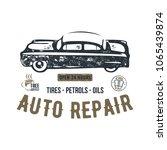 vintage hand drawn auto repair...   Shutterstock .eps vector #1065439874