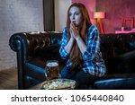 young woman sport fan watching...   Shutterstock . vector #1065440840