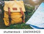 hipster hiker tourist yellow... | Shutterstock . vector #1065443423