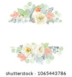 horizontal floral banner with... | Shutterstock .eps vector #1065443786