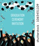 graduation poster with happy... | Shutterstock .eps vector #1065451109