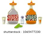 tequila bottles and glasses... | Shutterstock .eps vector #1065477230