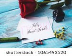 Stock photo a red rose an ink bottle a nib pen and the text t estimo and felic sant jordi i love you and 1065493520