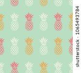 pineapple seamless pattern on... | Shutterstock .eps vector #1065493784