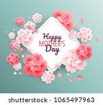 happy mothers day green... | Shutterstock .eps vector #1065497963