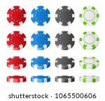 colorful plastic poker chips... | Shutterstock .eps vector #1065500606
