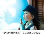 little girl watching aquarium | Shutterstock . vector #1065506429