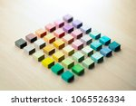 diagonally arranged colored... | Shutterstock . vector #1065526334