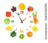 food clock with fresh fruits... | Shutterstock . vector #1065530090