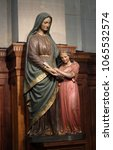 Small photo of PARIS, FRANCE - JANUARY 05: Statue of Saint Anne and Virgin Mary by Peaucelle Coquet, 19th century, Chapel of the Sacred Heart in the St Francis Xavier's Church in Paris, France on January 05, 2018.