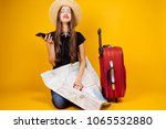 sad young girl goes on a... | Shutterstock . vector #1065532880
