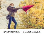 autumn weather concept. woman... | Shutterstock . vector #1065533666