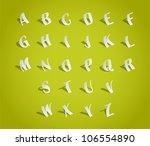 alphabet font  cut of paper  ... | Shutterstock .eps vector #106554890